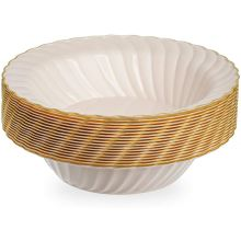 18 Sea Shell with Gold Rim Hard Plastic Soup Bowls