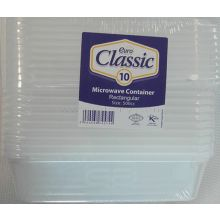 10 x 500cc Microwave Rectangular Containers
