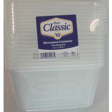 10 x 1000cc Microwave Rectangular Containers
