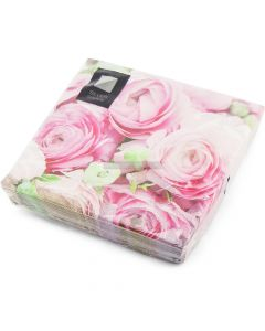 20 3ply Pink Roses Napkins